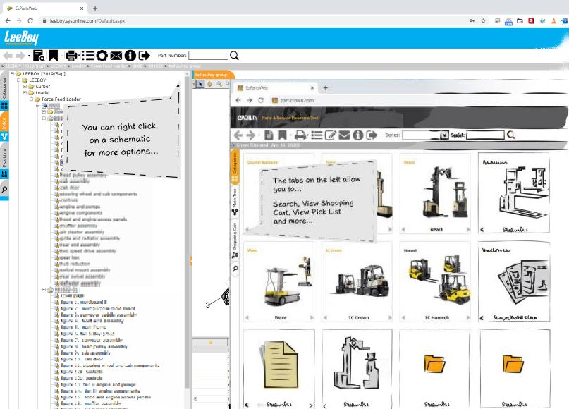 screenshots of online electronic parts catalog software